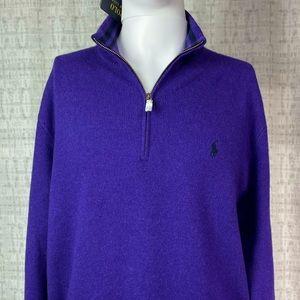 NWT Polo by Ralph Lauren Wool Cashmere Blend Quarter Zip Sweater